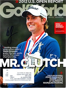Webb Simpson autographed 2012 U.S. Open Golf World magazine cover
