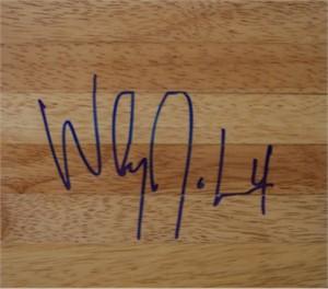 Wesley Johnson autographed basketball hardwood floor