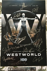 Westworld cast autographed 2017 Comic-Con poster (Ed Harris Thandie Newton Evan Rachel Wood Jeffrey Wright)