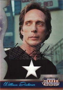 William Fichtner certified autograph Donruss Americana card with worn shirt swatch #147/250