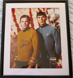 William Shatner autographed Star Trek 16x20 poster size photo matted & framed