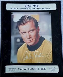 William Shatner autographed Star Trek 8x10 photo in plaque