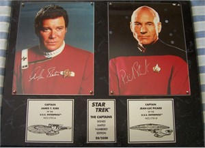 William Shatner & Patrick Stewart autographed Star Trek The Captains 8x10 photos in plaque ltd. edit. 2500