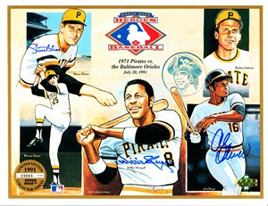 Willie Stargell Steve Blass Al Oliver autographed 1971 Pittsburgh Pirates 1991 Upper Deck card sheet