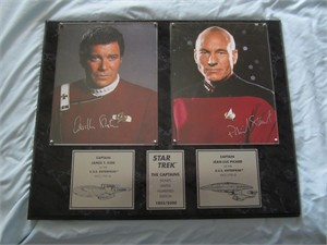 William Shatner & Patrick Stewart autographed Star Trek The Captains 8x10 photos in plaque ltd. edit. 2500