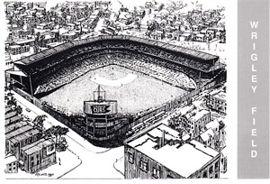 Wrigley Field 1990 Waterford Publishing postcard (Eric Hotz artwork)