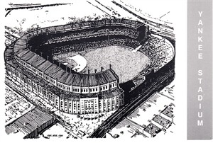 Yankee Stadium 1990 Waterford Publishing postcard (Eric Hotz artwork)