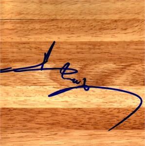 Yi Jianlian autographed basketball hardwood floor