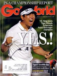 Y.E. Yang autographed 2009 PGA Championship Golf World magazine