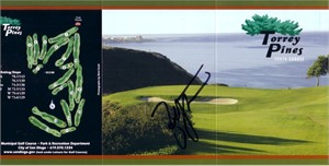 Zach Johnson autographed Torrey Pines South golf scorecard