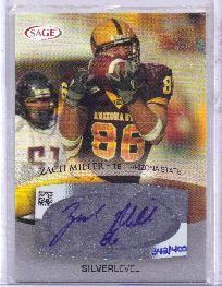 Zach Miller certified autograph Arizona State Sun Devils 2007 SAGE card