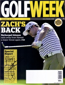 Zach Johnson autographed 2009 Golfweek magazine (to Alex)