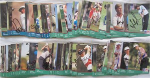 Partial set of 123 autographed 1991 Pro Set PGA Tour golf cards George Archer Gay Brewer Fred Couples Gary Player Tom Watson