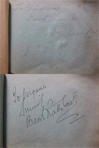1930s Hollywood autograph album or book autographed by 28 actors actresses directors (Lon Chaney Jr. Basil Rathbone) JSA