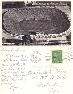 1949 Michigan Stadium postcard