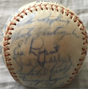 1965 Kansas City Athletics team autographed baseball (Satchel Paige Luke Appling Gabby Hartnett Whitey Herzog Catfish Hunter)