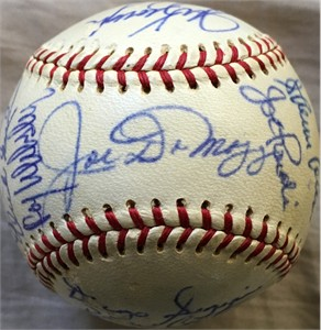 1968 Oakland A's team autographed AL baseball (Joe DiMaggio Rollie Fingers Catfish Hunter Reggie Jackson)