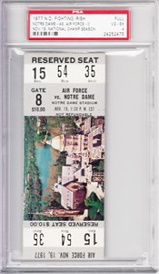 1977 Notre Dame vs Air Force full unused ticket graded PSA 4 (Joe Montana led National Championship team)