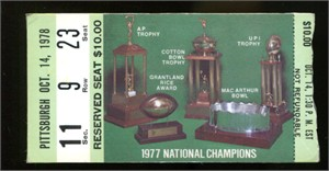 1978 Notre Dame vs Pittsburgh college football ticket stub (Joe Montana leads 26-17 comeback win)