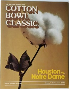 1979 Cotton Bowl college football program Joe Montana Notre Dame Chicken Soup Game (good condition)