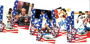 Lot of 8 different 1980 Miracle on Ice 1995 Signature Rookies autographed cards (Mike Eruzione)