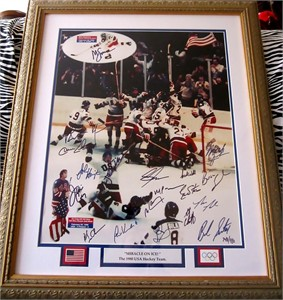 1980 Miracle on Ice USA Olympic Hockey Team autographed 16x20 photo matted & framed #748/980 (Grandstand)