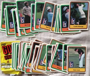 1981 Donruss PGA Tour Golf lot of 59 cards with wax wrapper (Jack Nicklaus)