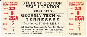 1984 Tennessee Volunteers at Georgia Tech Yellow Jackets football ticket (Johnny Majors)