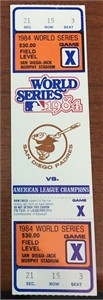 1984 World Series full proof ticket (Detroit Tigers over San Diego Padres)