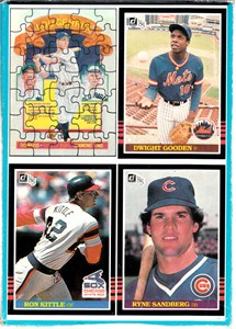 1985 Donruss wax box panel of four cards (Dwight Gooden Ryne Sandberg)