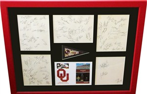 1985 Oklahoma Sooners National Champions team autographs framed (Tony Casillas Jamelle Holieway Keith Jackson Derrick Shepard Barry Switzer Spencer Tillman)