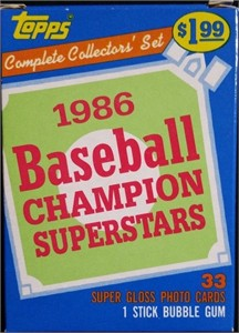 1986 Topps Champion Superstars set (George Brett Tony Gwynn Mike Schmidt)