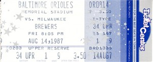 1987 Milwaukee Brewers at Baltimore Orioles ticket stub (Paul Molitor Hit Streak and Cal Ripken Iron Man Streak)