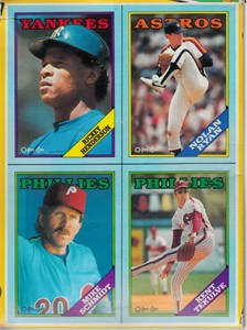 1988 O-Pee-Chee baseball wax box bottom four card panel (Rickey Henderson Nolan Ryan Mike Schmidt)