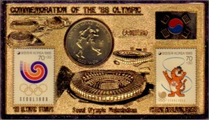 1988 Seoul Olympics commemorative coin & stamp set with stand