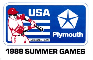 1988 U.S. Olympic Baseball Team official booster card