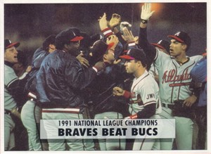 1991 Atlanta Braves National League Champions 1992 OPC 5x7 box bottom card