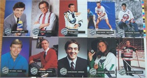 1991 Pro Set Platinum hockey celebrity cards uncut sheet set (Marv Albert James Belushi Jim Kelly Larry King Ralph Macchio)