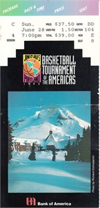 1992 Basketball Tournament of the Americas ticket stub (Canada 87 Argentina 80)