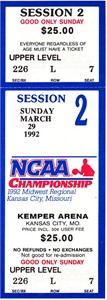 1992 NCAA Tournament Midwest Regional Final full unused ticket (Cincinnati advances to Final 4)