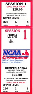 1992 NCAA Tournament Midwest Regional Semifinals full unused ticket (Cincinnati wins)