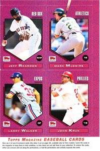 1992 Topps Magazine set of 8 cards (Mark McGwire Gary Sheffield Larry Walker)