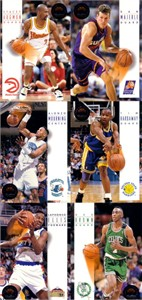 1993-94 SkyBox 6 promo card panel (Tim Hardaway Dan Majerle Alonzo Mourning)