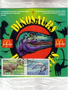 1993 Canada Post Dinosaurs stamps with McDonald's collector booklet
