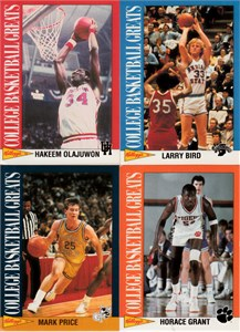 1993 Kellogg's College Basketball Greats 18 card set (Larry Bird Karl Malone Gary Payton Scottie Pippen John Stockton)