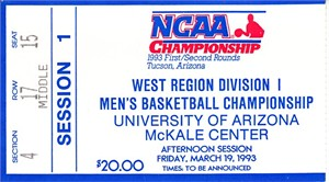 1993 NCAA Tournament West First Round ticket (Michigan Fab Five)