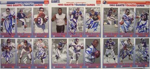 1993 New York Giants team autographed McDonald's GameDay card sheet set (Carl Banks Rodney Hampton David Meggett Phil Simms)