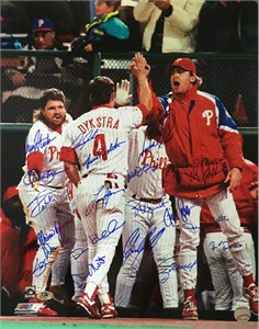 1993 Philadelphia Phillies NL Champions team autographed 16x20 poster size photo (Lenny Dykstra Dave Hollins John Kruk)
