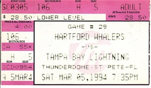 1994 Tampa Bay Lightning vs. Hartford Whalers ticket stub (Denis Savard)