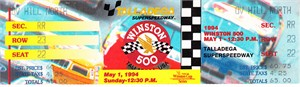 1994 NASCAR Winston Select 500 full unused ticket (Dale Earnhardt wins)